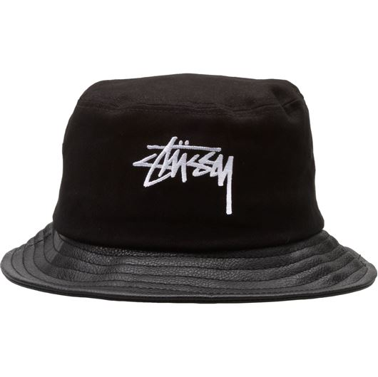 Picture of Stock Leather Brim Bucket Hat Black
