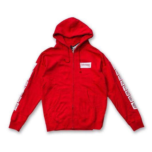 Picture of BOXED LOGO ZIP HOOD Red