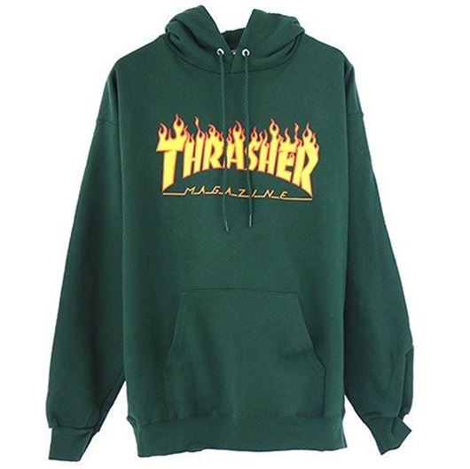 Picture of FLAME LOGO HOOD FOREST GREEN