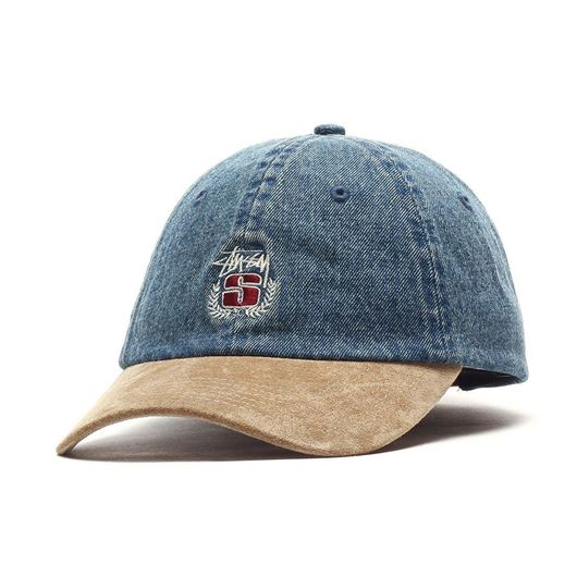Picture of Denim suede crest cap Indigo
