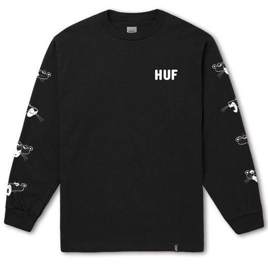 Picture of HUF x PINK PANTHER HEADS LS TEE Black
