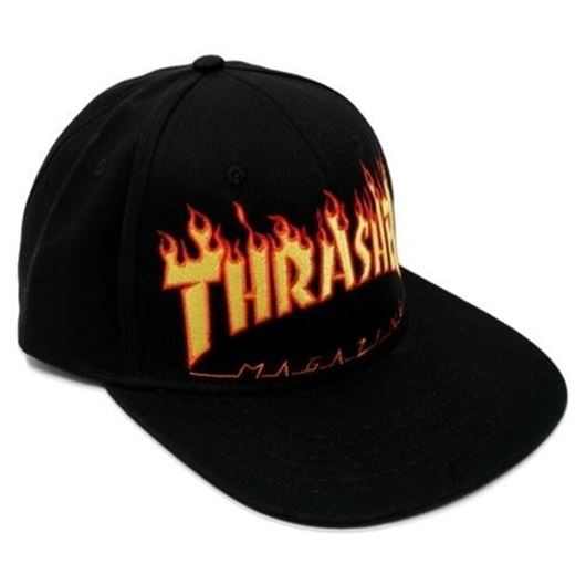Picture of SM17 FLAME STRAPBACK 6 PANEL CAP Black
