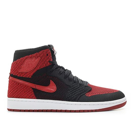 Picture of Air Jordan 1 Retro High Flyknit Bred 'Banned' Black/Red