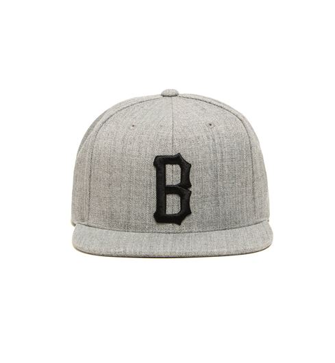 Picture of B LOGO SNAP BACK HAT Heather Grey