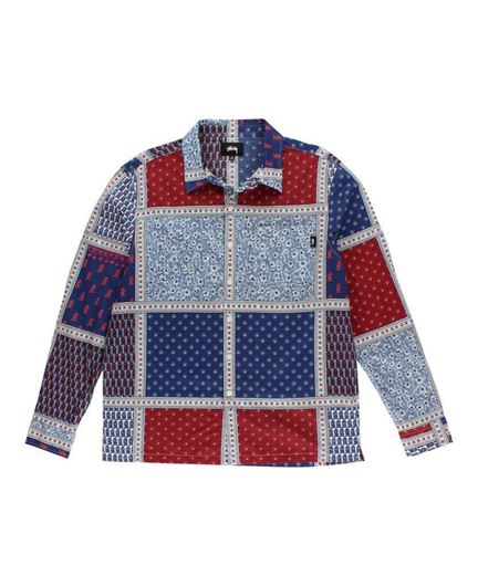 Picture of PAISLEY PATCHWORK LS SHIRT Blue