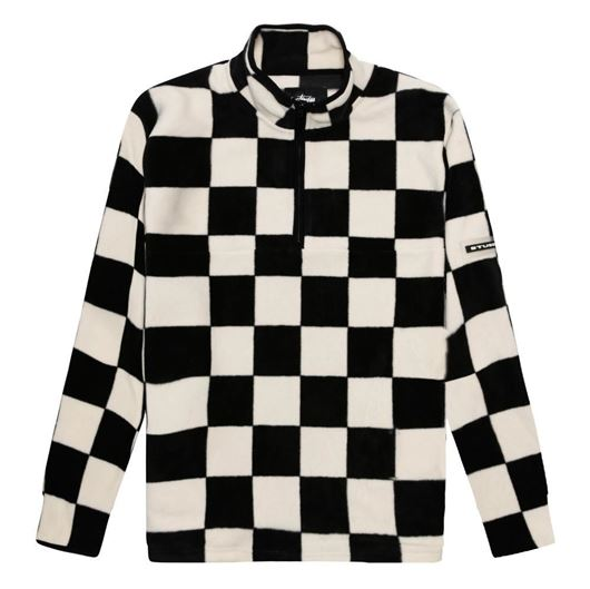 Picture of CHECKERED MOCK NECK Black