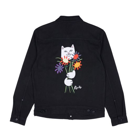 Picture of Nermcasso Flower Denim Jacket Black